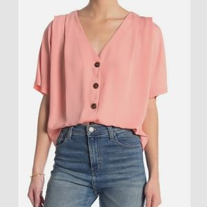 Elodie Pink Short Sleeve Button up Blouse Size Sm